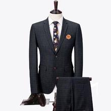 男士格子修身新郎结婚西服两件套