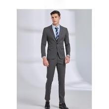 韩版男士灰色修身新郎西服两件套