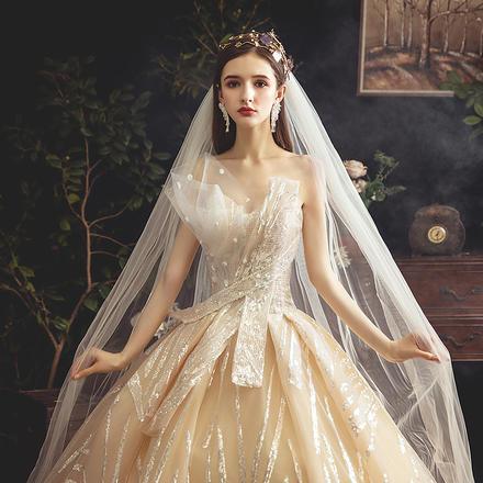 枫丹白露?法式梦幻显瘦抹胸婚纱