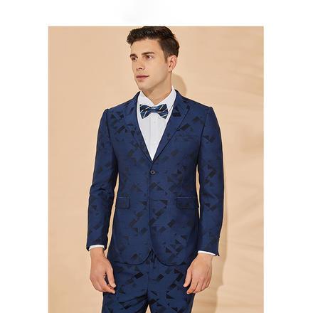男士修身几何花纹新郎结婚两件套