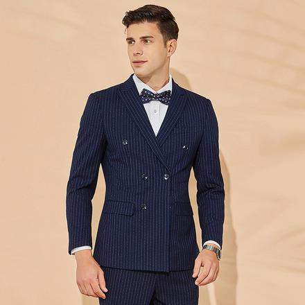 男士韩版条纹修身双排扣西服两件套