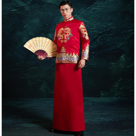 中式男士刺绣礼服
