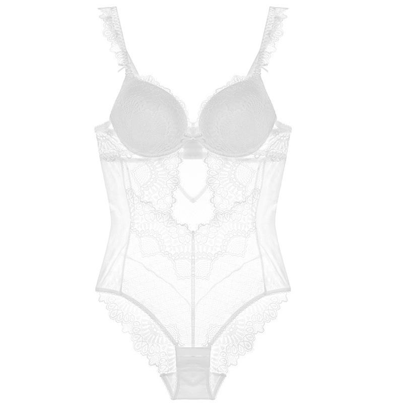 法式连体内衣女性感蕾丝上薄下厚文胸修身打底塑身衣美体
