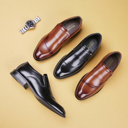 日系商务休闲一脚蹬皮鞋男绅士正装婚鞋皮鞋