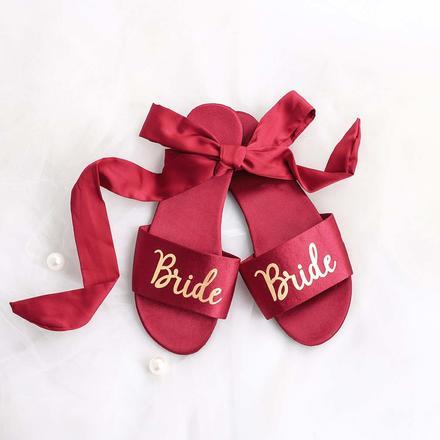 高端丝稠烫金新娘伴娘拖鞋