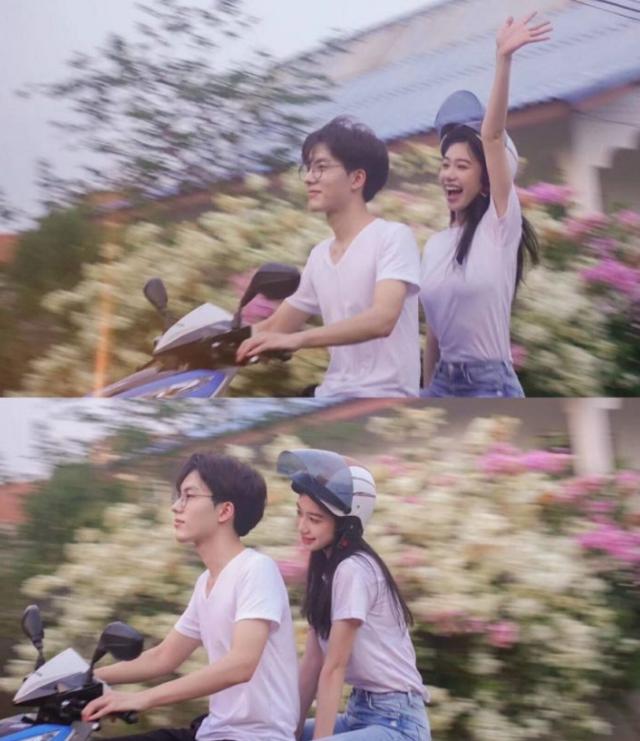 情侣骑电动车