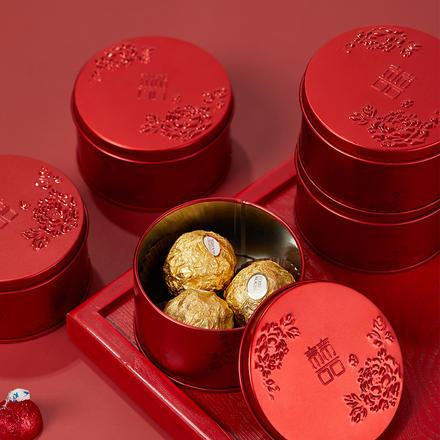 中式牡丹花开喜糖盒