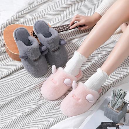 萌系可爱卡通情侣防滑家居地板毛拖鞋