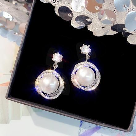 珍环圆圈镶钻S925银针高级感耳环