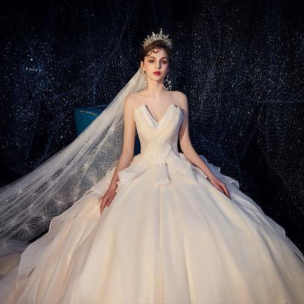 罗马风车•法式宫廷抹胸婚纱•送三件套