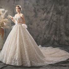 艾莎公主•法式华抹胸亮片婚纱•送三件套