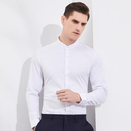 男式长袖竹纤维弹力纯色立领衬衫