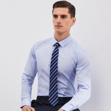 男士条纹精梳棉长袖衬衫