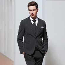 【送衬衫领结领带】新款男士韩版修身条纹新郎西装三件套