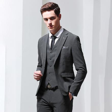 【送衬衫领结领带】男士绅士修身条纹新郎婚礼西服三件套