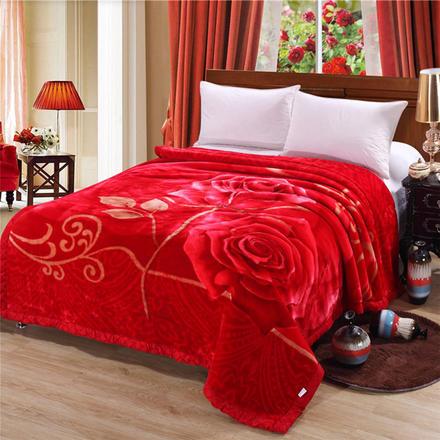 富贵花开拉舍尔双层毛毯