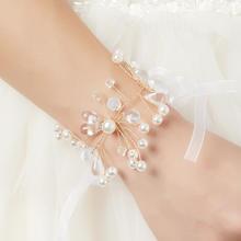 结婚手腕花(白色水晶枝)