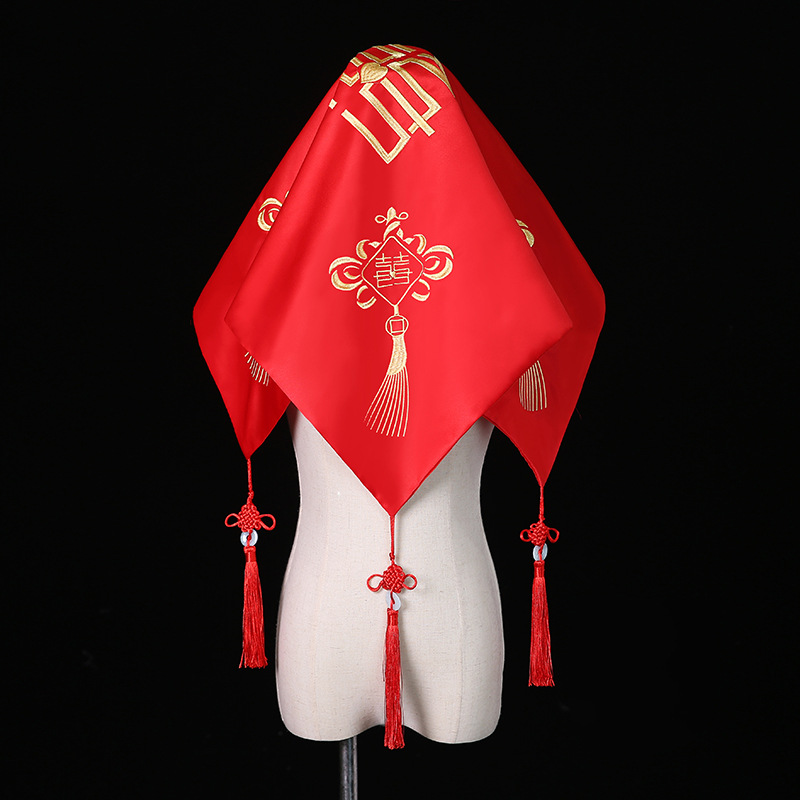 中式刺绣花喜帕红色盖头