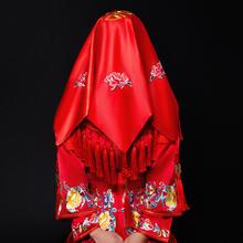 中式刺绣缎面流苏红盖头