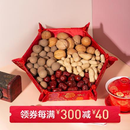 牡丹富贵缎布果盘盒