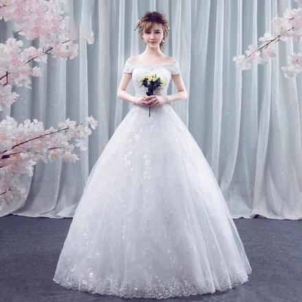 情窦花海•韩式蕾丝一字肩婚纱•送三件套