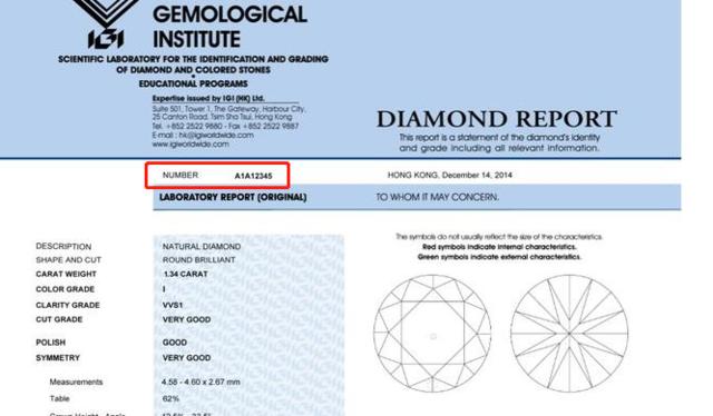 IGI证书编号