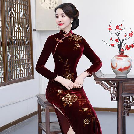 丝绒复古中式端庄优雅长款旗袍