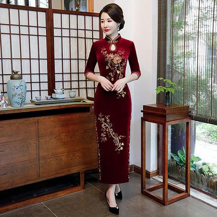复古改良金丝绒钉珠长款亮片立领珠绣旗袍裙
