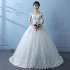《星空物语》法式蕾丝刺绣显瘦一字肩婚纱