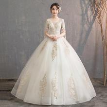 【2月3日陆续发货】一帘幽梦•法式奢华蕾丝中袖婚纱•送三件套