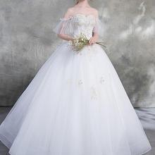 【茉莉与玫瑰】韩式森系简约一字肩婚纱