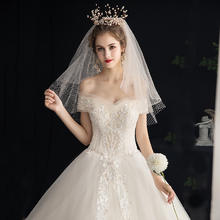 茜茜公主•森系梦幻一字肩婚纱•送三件套