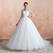 法式长袖蕾丝拖尾婚纱