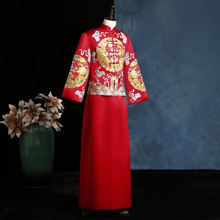 中式男式刺繡禮服