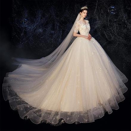 森系显瘦超仙梦幻中袖婚纱•送三件套