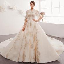法式奢华超仙梦幻中袖婚纱•送三件套