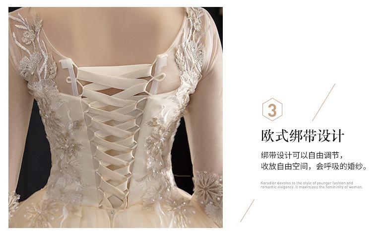 森系唯美孕妇遮孕肚长袖婚纱