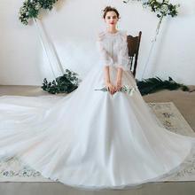 森系简约显瘦超仙长袖婚纱•送三件套