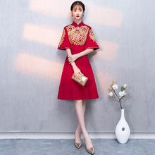 中式立领高贵红色短款显瘦复古敬酒服