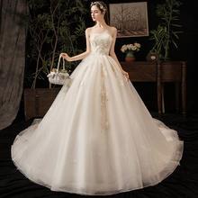 法式花朵超仙豪华抹胸婚纱