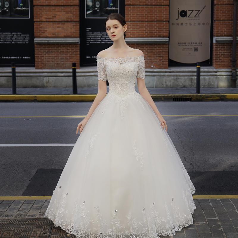 《甜梦少女》森系蕾丝修身中袖一字肩婚纱