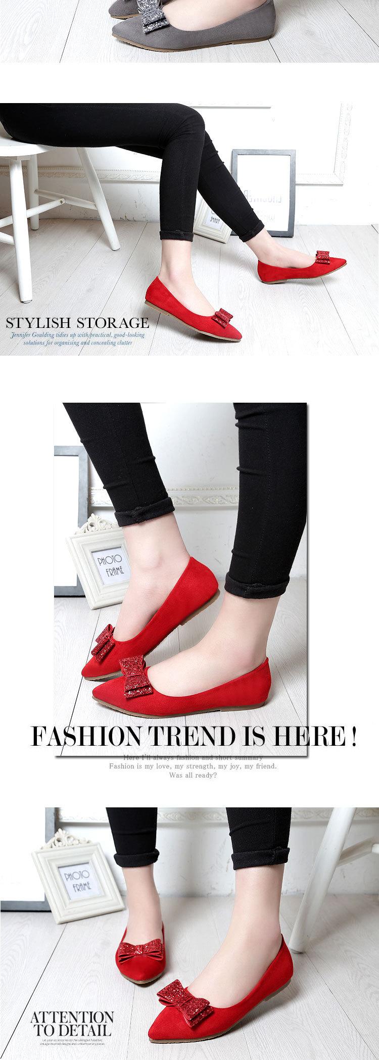 小可爱蝴蝶结尖头绒面平底红色单鞋婚鞋