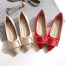 优雅女人味 钻扣真丝绸缎平底婚鞋