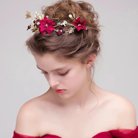 红色仙美花朵敬酒服新娘头饰