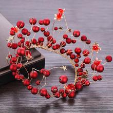 韩式百搭红色珍珠敬酒服王冠