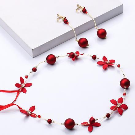 红色珍珠花朵敬酒服发带耳环套装