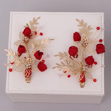 中式红色手工花朵敬酒服头饰配饰