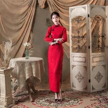 金丝加绒修身长款保暖改良旗袍