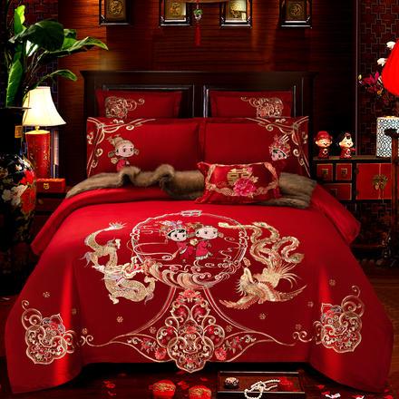 【下单送枕芯一对】全棉大红婚庆四件套刺绣结婚多件套