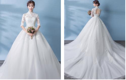 适合冬天的长袖婚纱1